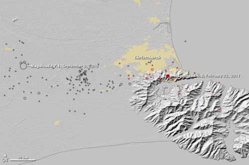 Magnitude 6.3 Earthquake near Christchurch, NZ (Earth Observatory)