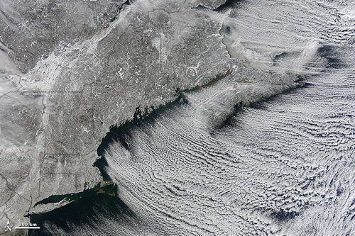 Winter Cloud Streets, North Atlantic (Earth Observatory)