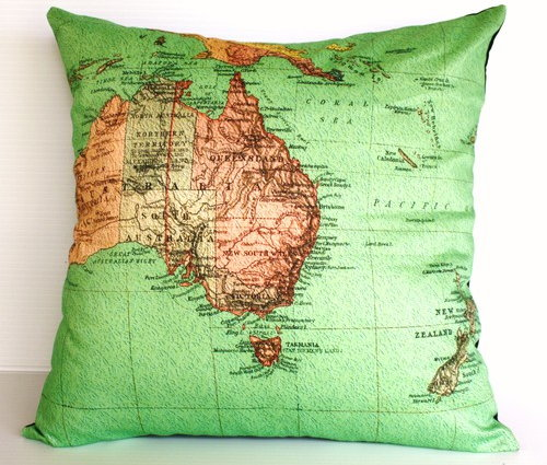 Map cushion by My Bearded Pigeon