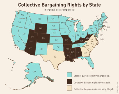 TPM map: Collective Bargaining Rights by State (for public-sector workers)