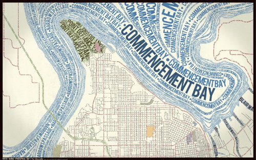 Typographic map of Tacoma, Washington