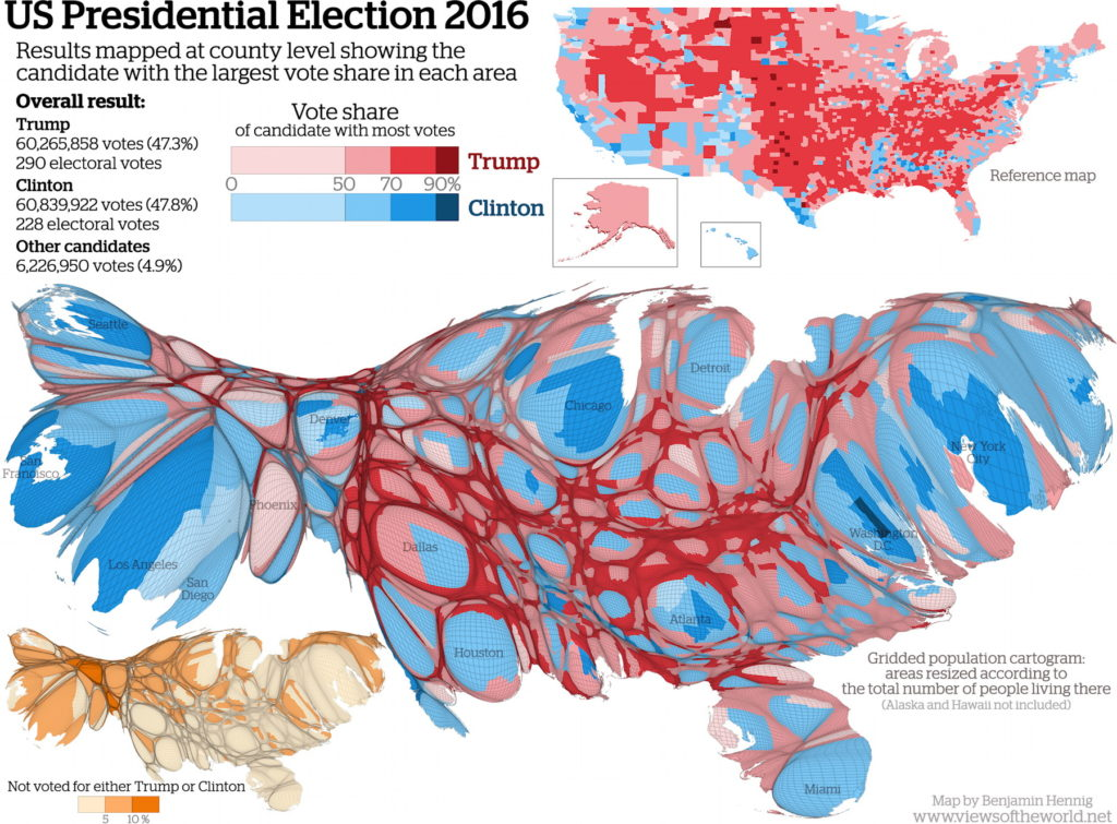 US Presidential Election Cartogram The Map Room - 2016 election us map