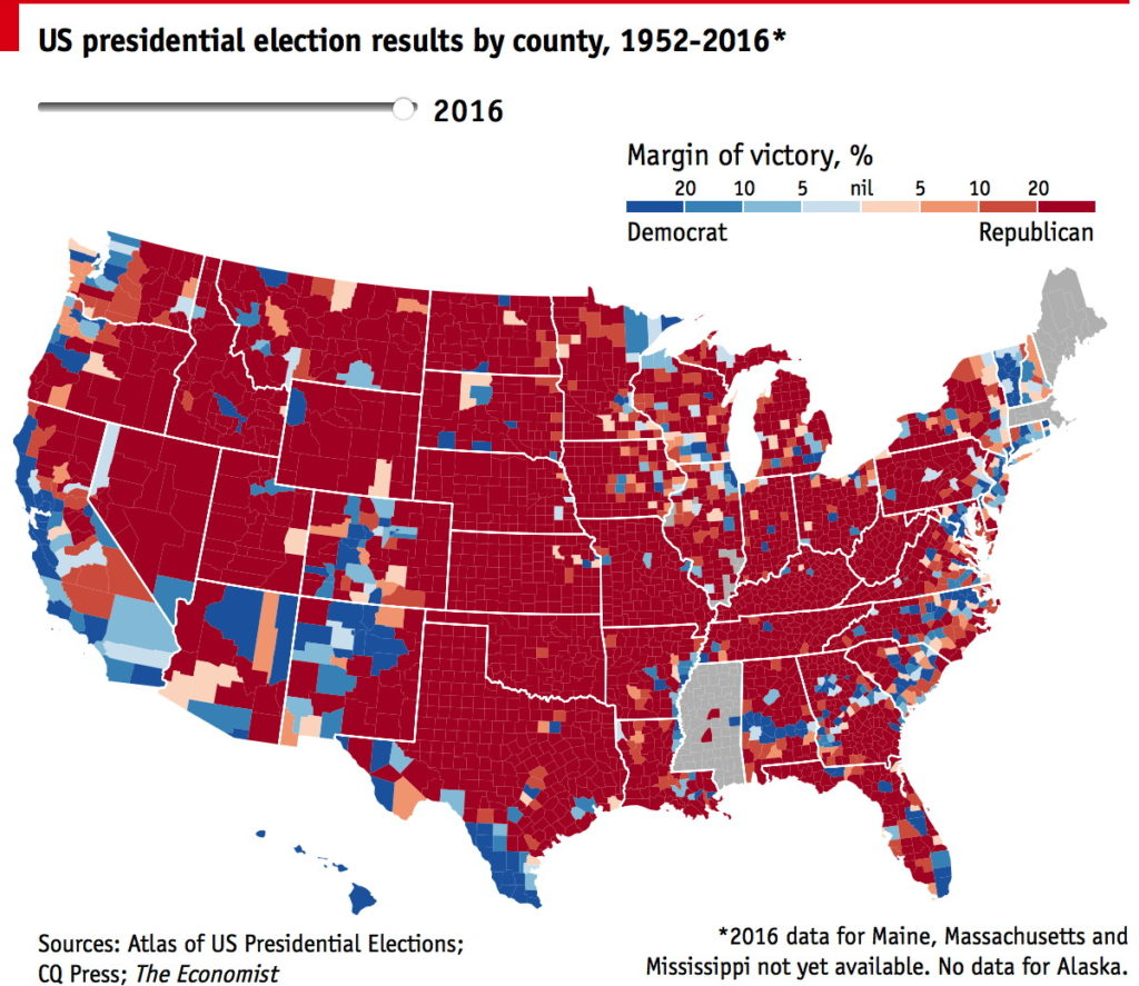The Economists CountybyCounty Election Map The Map Room - 2016 us election results county map