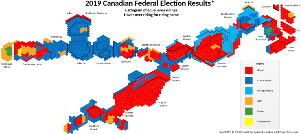 Constituency Map Canada A Cartogram of Canada's Election Results – The Map Room